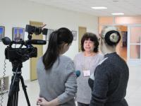 Р.М. Моисеева дает интервью представителям Красногорских СМИ