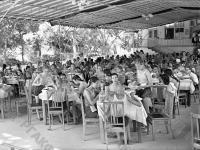 Пионеры, отдыхающие в лагере «Артек» на обеде в столовой.