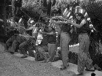 Ребята, отдыхающие в пионерском лагере «Артек», в костюмах индейцев на карнавале. Крым. 1936 г. Фотограф Швец. РГАКФД. Арх. № 0-12222.
