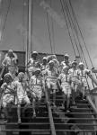 Пионеры лагеря «Артек» отправляются на прогулку. Крым. 1936 г. Фотограф Швец. РГАКФД. Арх. № 0-32289.